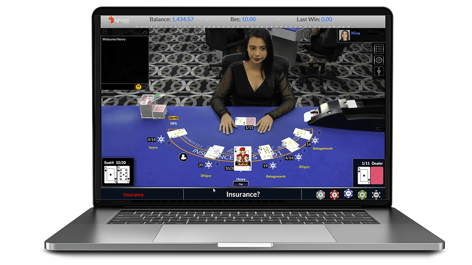 Blackjack dealer on laptop computer